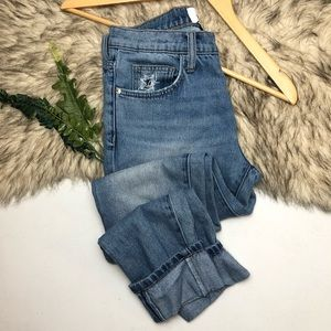 Current Elliot Cropped Rolled Hem Denim Jeans